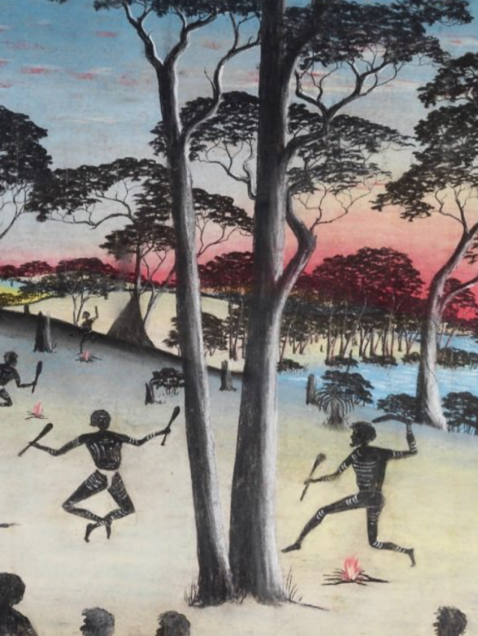 A stylised painting of Aboriginal people in a camp area with small campfires surrounded by trees and a river