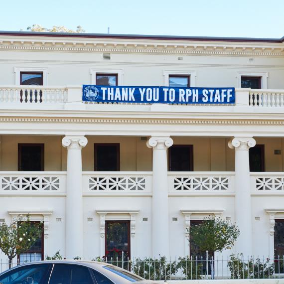 A photo of a banner thanking RPH staff