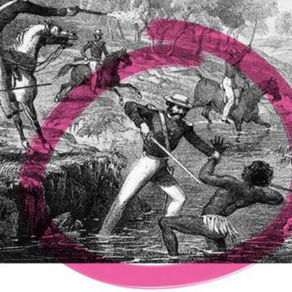 A black and white line drawing of armed mounted soldiers attacking an Aboriginal man in the foreground of the image